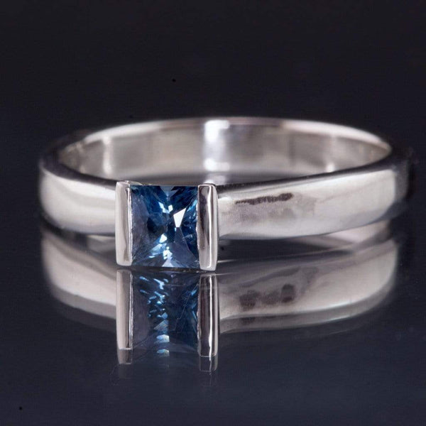 Princess Cut Blue Sapphire Modified Tension Solitaire Engagement Ring - by Nodeform