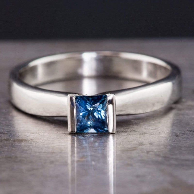Princess Cut Blue Sapphire Modified Tension Solitaire Engagement Ring