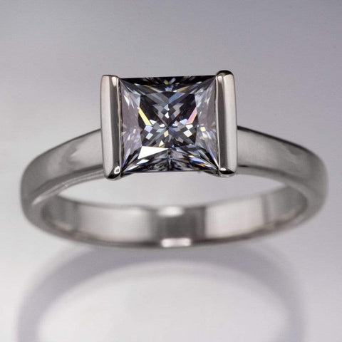 Gray Princess Cut Moissanite Modified Tension Engagement Ring