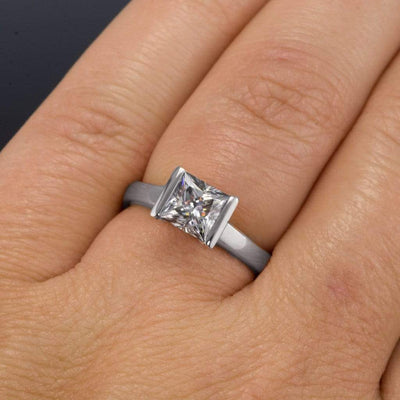 Gray Princess Cut Moissanite Modified Tension Engagement Ring - by Nodeform