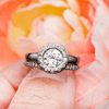 Round Moissanite Low Profile Diamond Star Dust Halo Bezel Engagement Ring