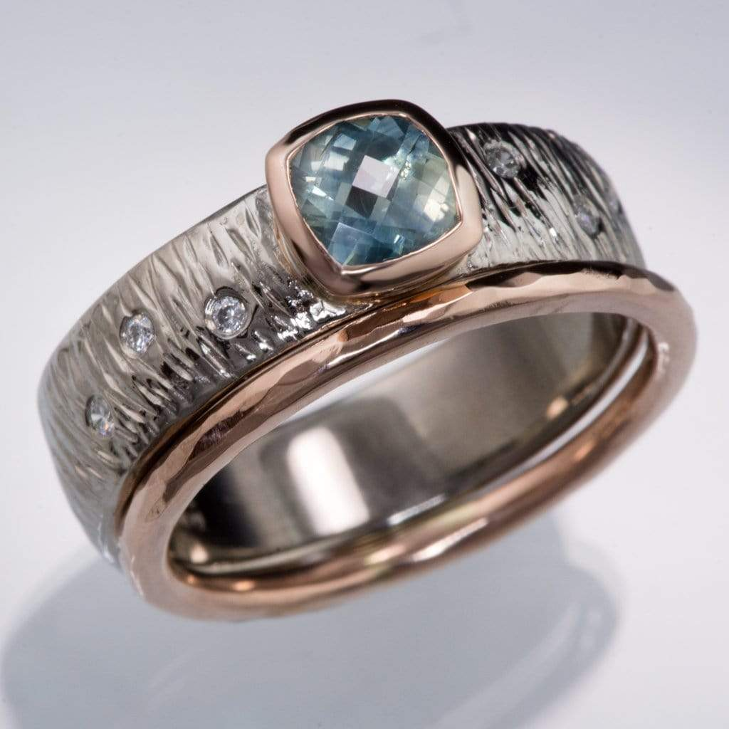 8f769a549 Textured Engagement Ring with Fair Trade Green Cushion Cut Sapphire &  Diamonds Accents