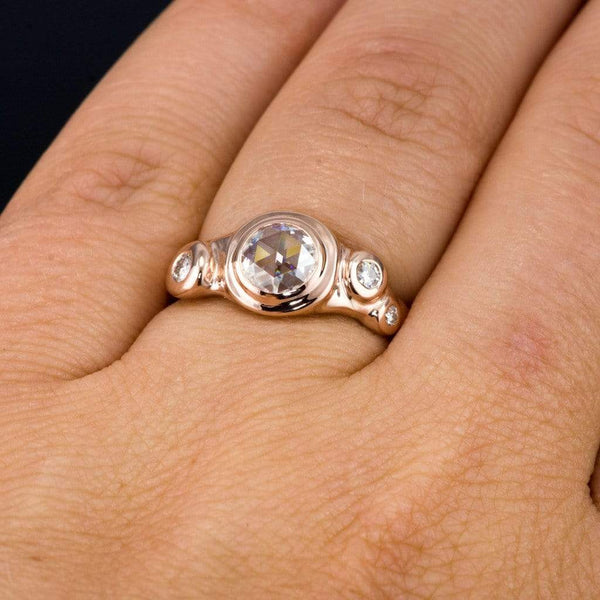 Rose Cut Round Rosette Moissanite Buds Rose Gold Engagement Ring - by Nodeform