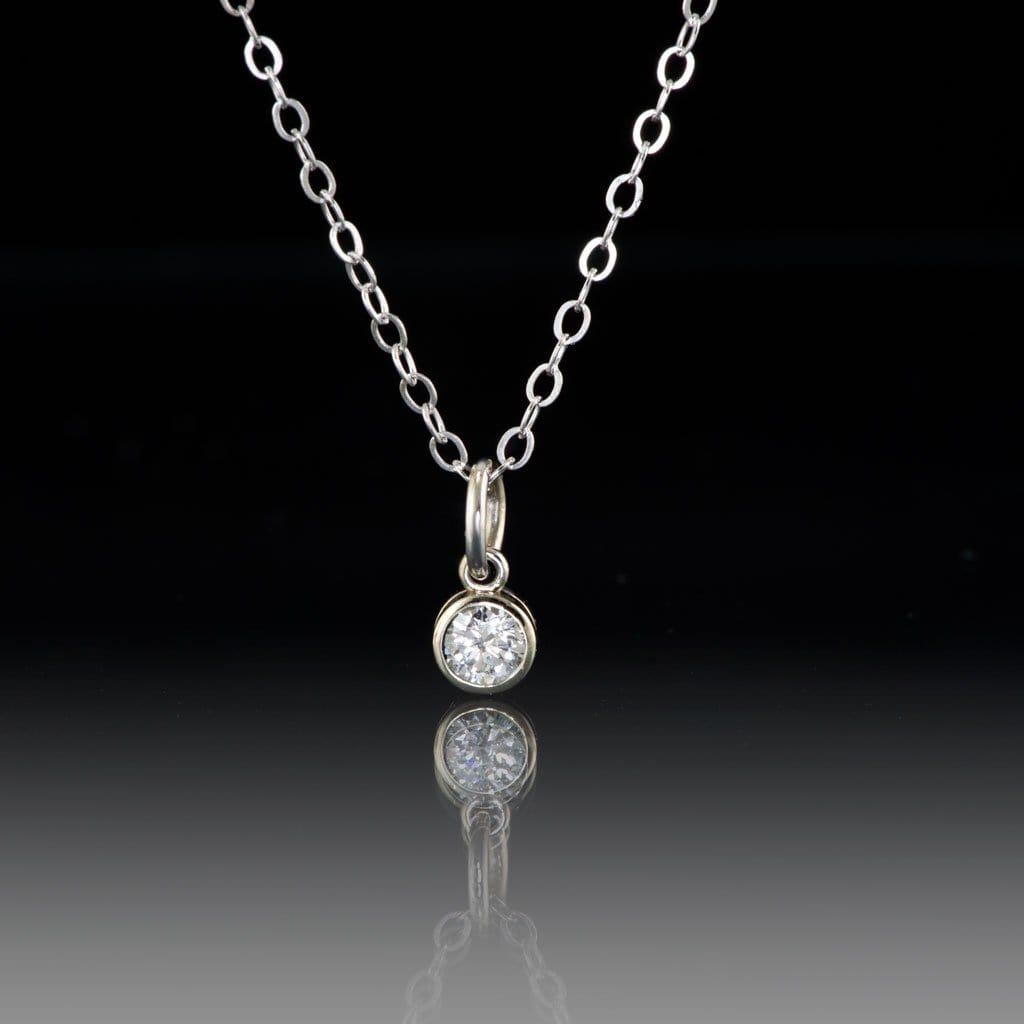 Round Diamond Gold Bezel Pendant Necklace