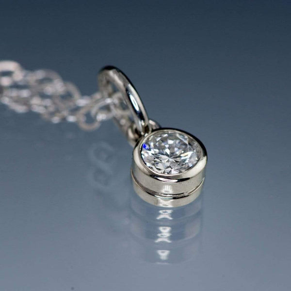Round 0.12ct Recycled Diamond White Gold Bezel Pendant Necklace, Ready To Ship
