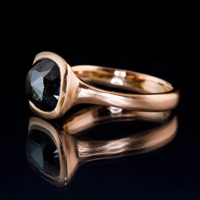 Cushion Black Rose Cut S&P Diamond Rose Gold Bezel Engagement Ring, Ready to size 4 to 9 - by Nodeform