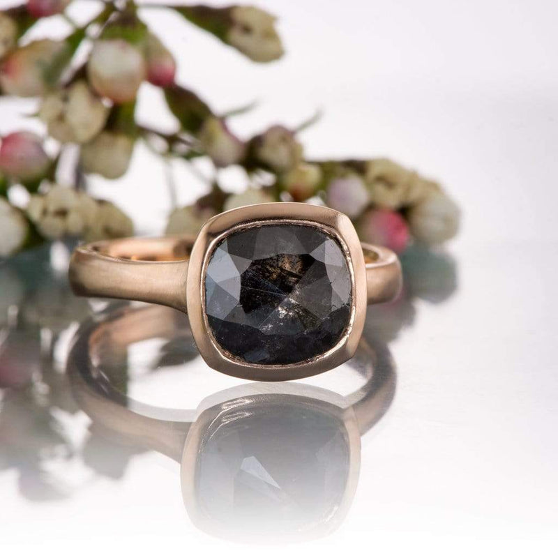 Cushion Black Rose Cut S&P Diamond Rose Gold Bezel Solitaire Engagement Ring, Ready to size 4 to 9