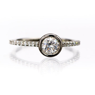 Sonia Ring - Round Moissanite Full Bezel Cathedral Accented Pave Band Engagement Ring