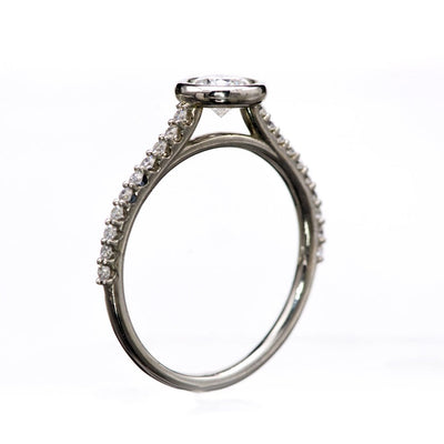 Sonia - 5mm/0.5ct round Bezel Set Engagement Ring in 14k White Gold - Setting only, ready to ship