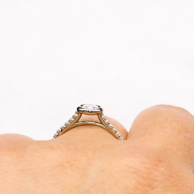 Sonia - Bezel Set Engagement Ring with Accented Cathedral Shank - Setting only