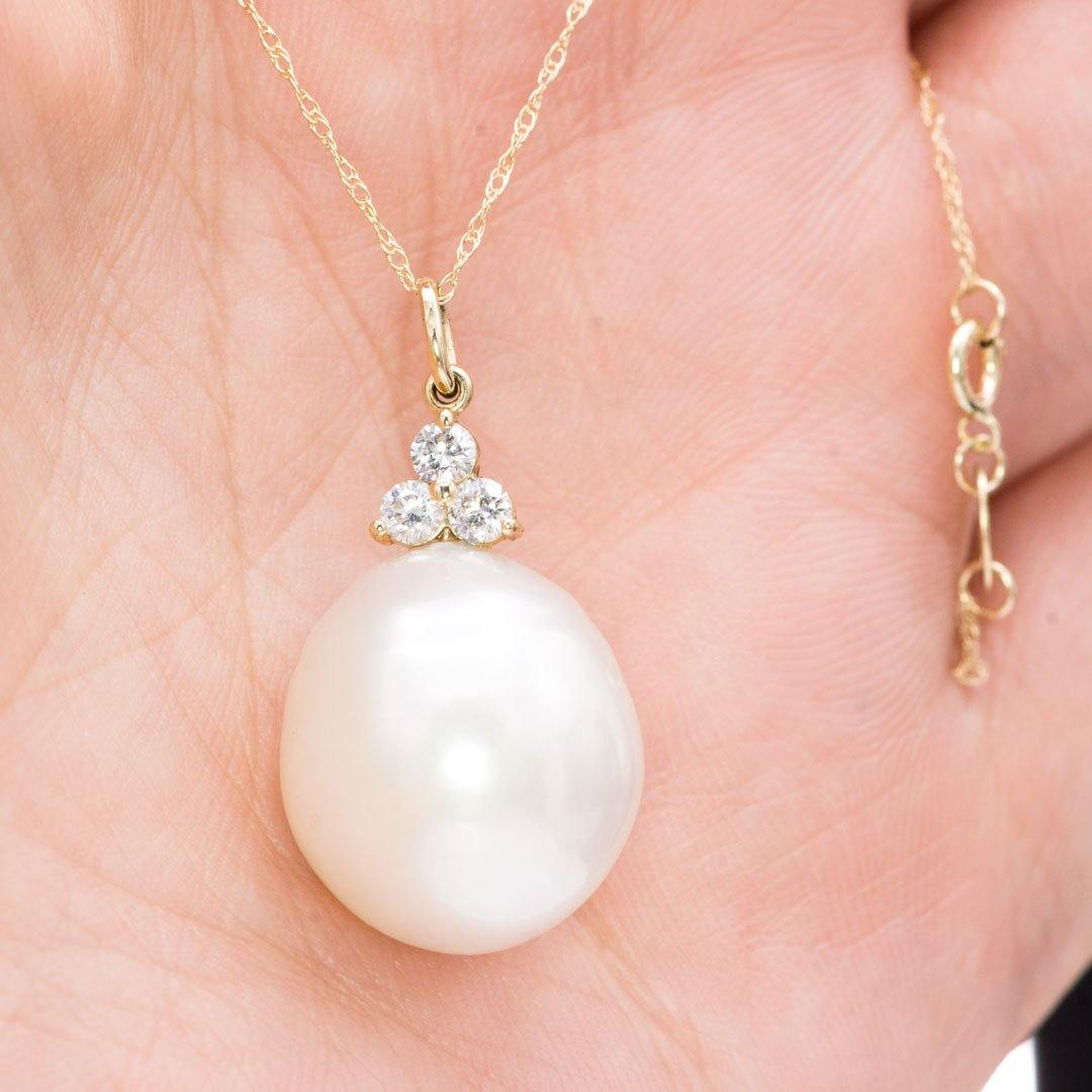 South Sea Pearl & Diamond Accented Dangle Pendant 14k Yellow Gold Necklace, Ready to Ship