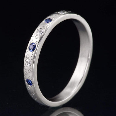 Blue Sapphire and Diamond Star Dust Wedding Ring - by Nodeform