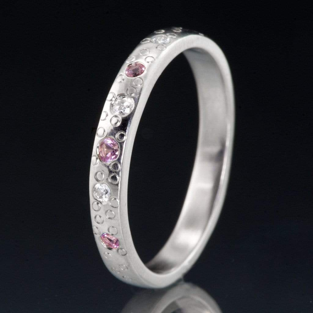 Pink Sapphire and Diamond Star Dust Wedding Ring - by Nodeform