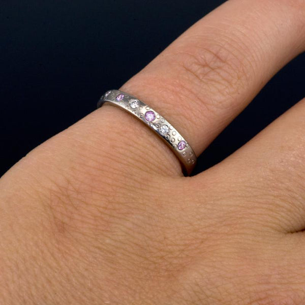 Pink Sapphire and Diamond Star Dust Wedding Ring