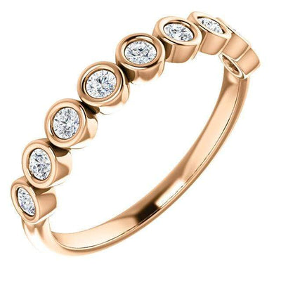 Betty Anniversary Band - Bezel Set Diamond Half Eternity Stacking Wedding Ring in Rose Gold, Ready to Ship
