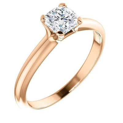 Cushion Moissanite Prong Solitaire Engagement Ring
