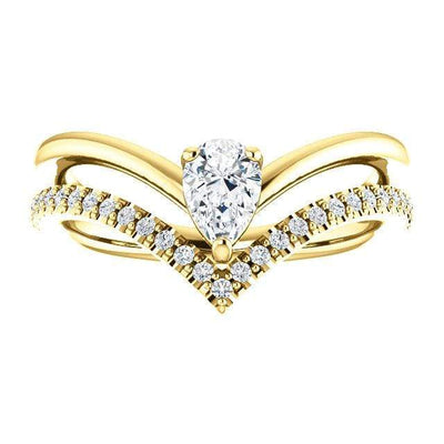 Prong Set Pear Moissanite and Diamond Double V-Band Ring