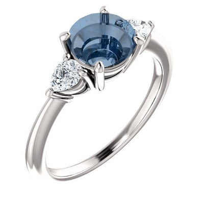 Tressa - Three Stone Prong Set Engagement Ring with Pear-shaped Side Stones - Setting only