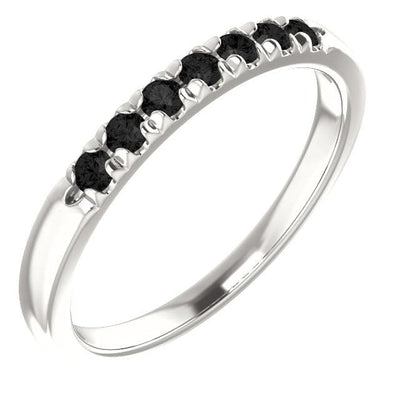 Black Diamond Pave French Set Ring Stacking Wedding Band