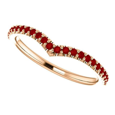 Vivian Band - V-Shape Contoured Accented Diamond, Moissanite, Ruby or Sapphire Wedding Ring