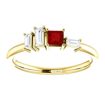 Georgia Ring - Geometric Cluster Baguette Diamonds and Princess Cut Diamond, Ruby, Alexandrite or Sapphire Stacking Ring