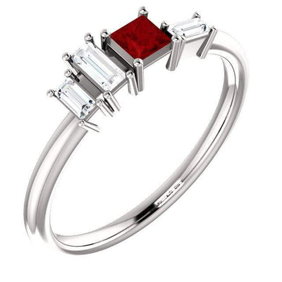 Georgia Ring - Geometric Cluster Baguette & Princess Cut Diamond, Ruby, Alexandrite or Sapphire Stacking Ring