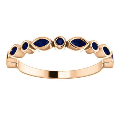 Maggie Band, 1/4CTW Diamond or Sapphire Bezel Set Marquise Stacking Half Eternity Anniversary Ring