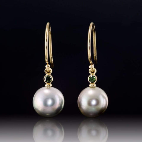 Gray Tahitian Pearls and Green Diamonds 14kY Gold Dangle Earrings, Ready to Ship