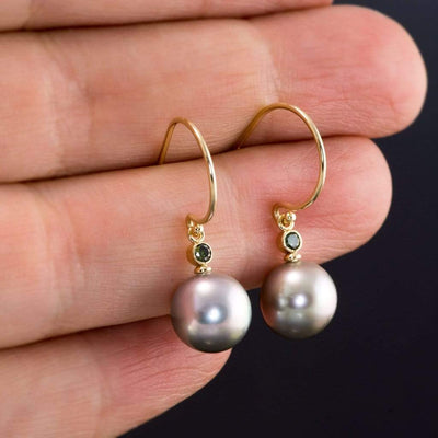 Gray Tahitian Pearls and Green Diamonds 14kY Gold Dangle Earrings, Ready to Ship - by Nodeform