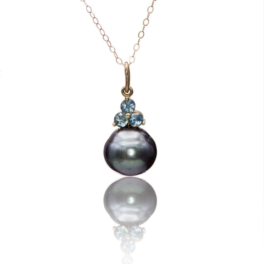 Tahitian Pearl and Teal Diamond Dangle Pendant 14k Rose Gold Necklace