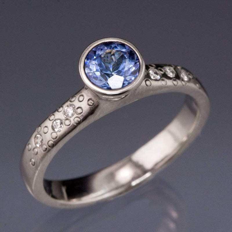 Tanzanite Elevated Round Bezel Diamond Star Dust Engagement Ring - by Nodeform