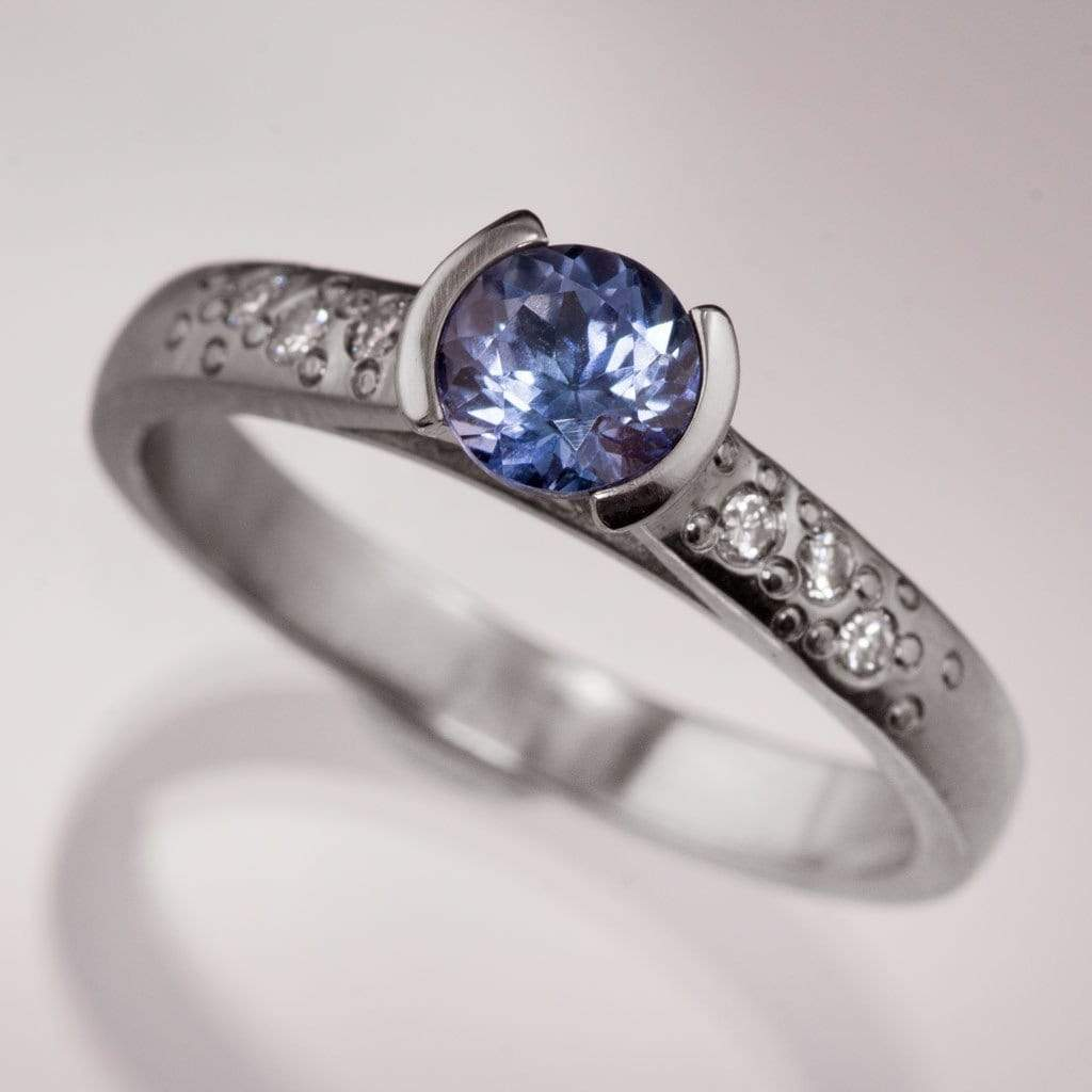 Tanzanite Half Bezel Diamond Star Dust Engagement Ring - by Nodeform