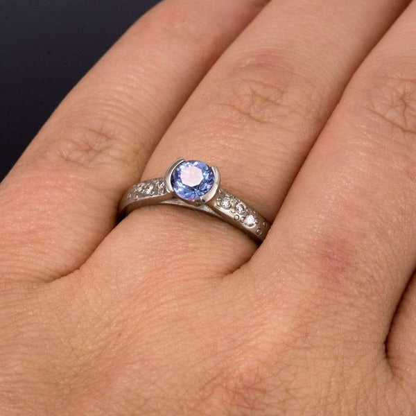 Tanzanite Half Bezel Diamond Star Dust Engagement Ring