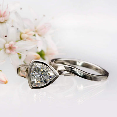 Tetra Bridal Set Trillion Moissanite Bezel Engagement Ring & Wedding Band