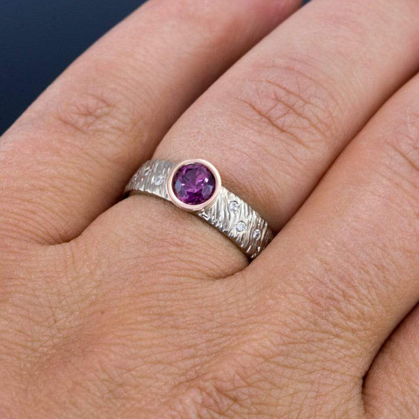 Rasp Textured Engagement Ring, Fair Trade Round Grape Pink Malawi Sapphire & Diamonds Accents - by Nodeform