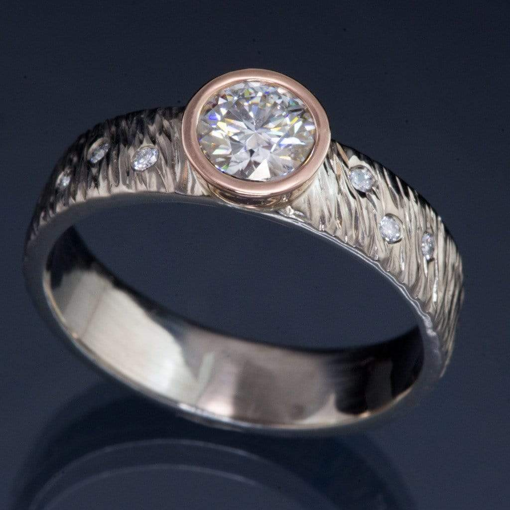 Textured Rasp Engagement Ring with Round Brilliant Moissanite & Diamonds Accents - by Nodeform