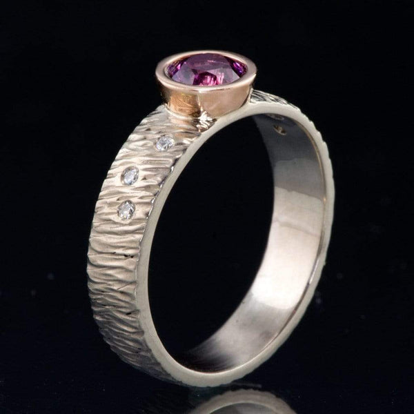 Rasp Textured Engagement Ring, Fair Trade Round Grape Pink Malawi Sapphire & Diamonds Accents