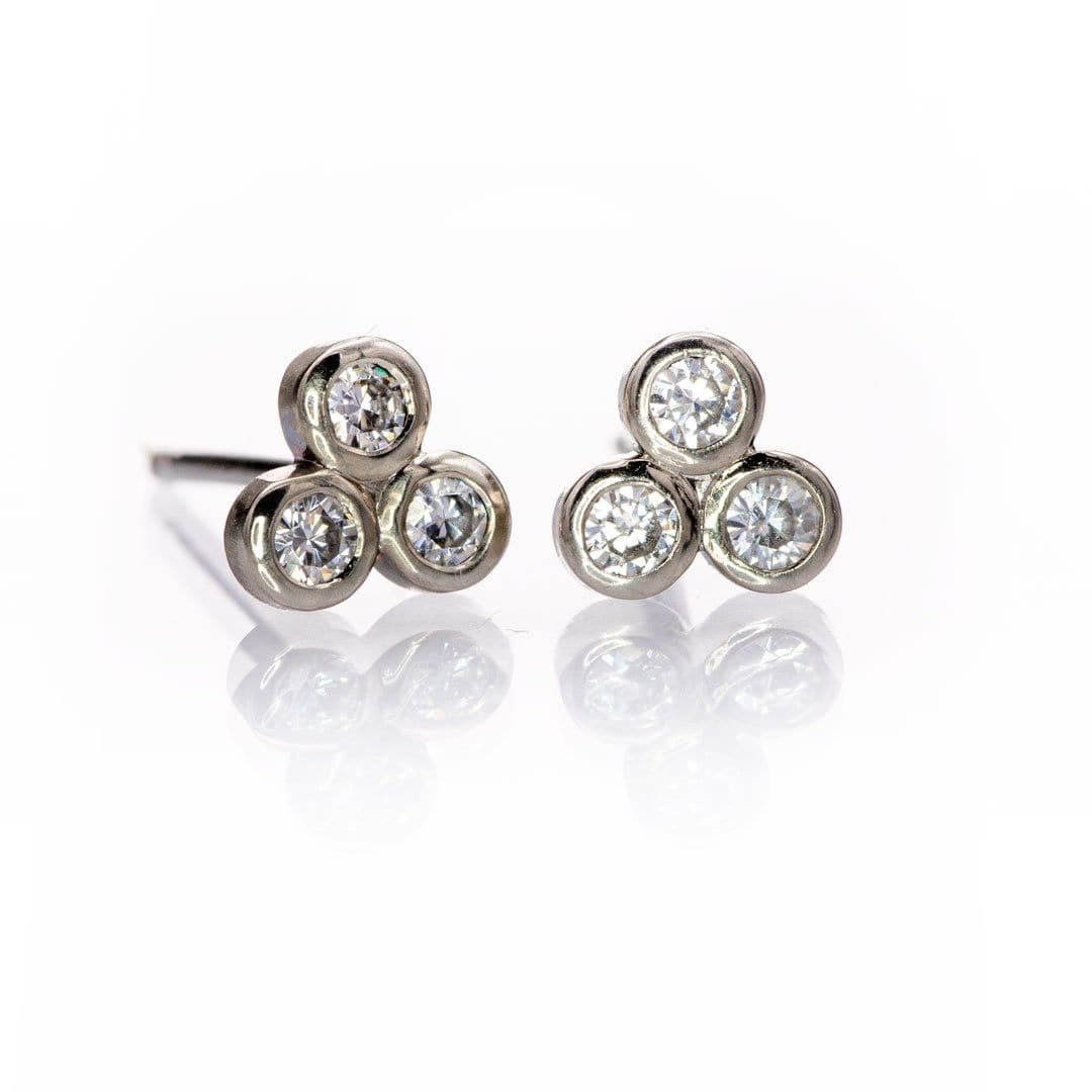 Tiny Three Moissanite Trio Bezel Cluster Stud White Gold Earrings, Ready To Ship