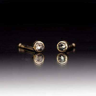 Tiny Gray Salt & Pepper Rose Cut Diamond Bezel Set 14kY Gold Stud Earrings, Ready to Ship