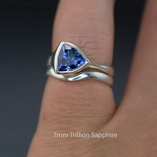 Tetra Bridal Set Trillion Lab Created Blue Sapphire Bezel Engagement Ring and Wedding Band