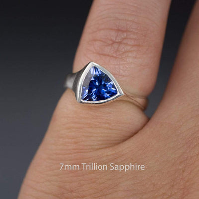 Trillion Lab Created Blue Sapphire Bezel Solitaire Engagement Ring
