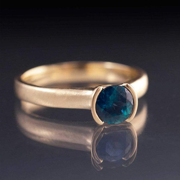 Round Fair Trade Blue / Green Sapphire Half Bezel Gold Solitaire Engagement Ring