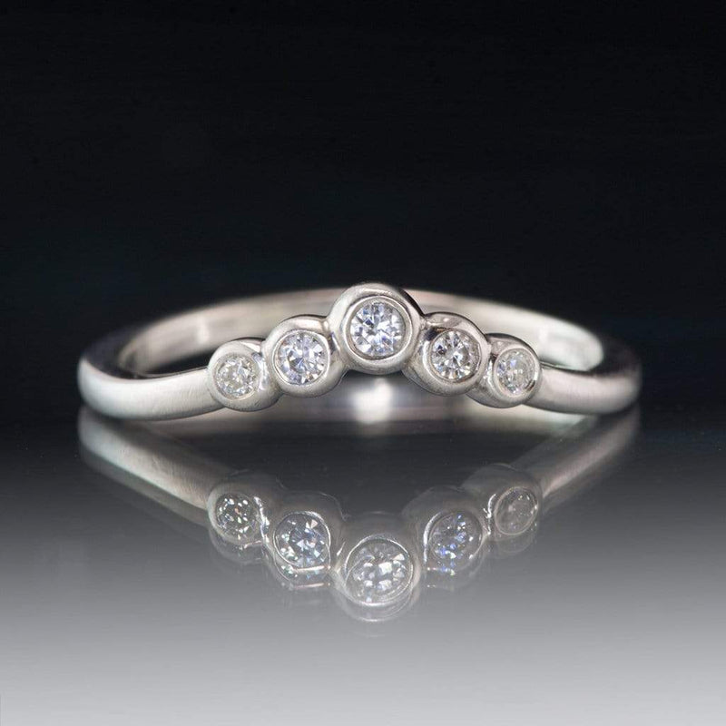 Velda Band, V-shape Contoured Continuum Sterling Silver Wedding Band with Moissanites, Ready to Ship