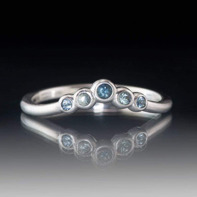 Velda Band, V-shape Contoured Sterling Silver Wedding Band with Montana Sapphires, Ready to Ship