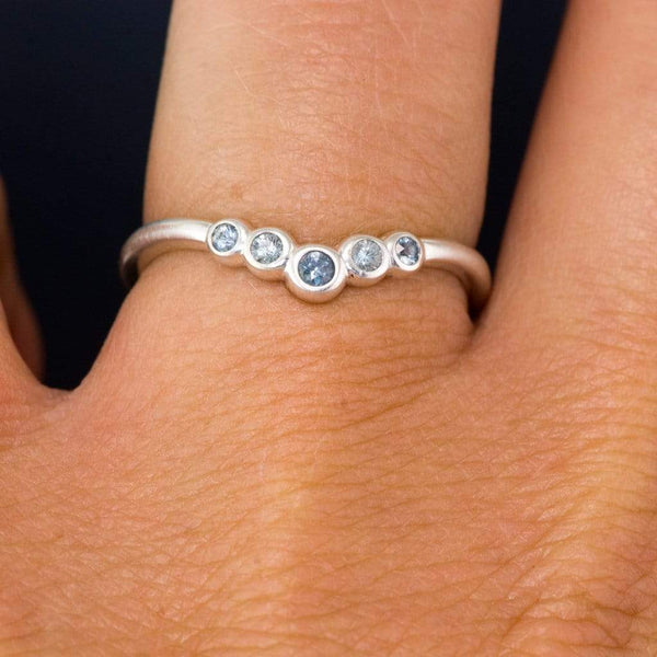 Velda Band, V-shape Contoured Wedding Band  with Graduated Bezel Set Montana Sapphires
