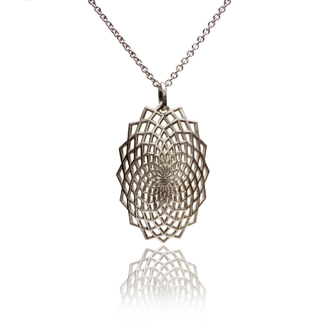 Oval Lattice Sterling Silver Pendant Necklace, Ready to Ship