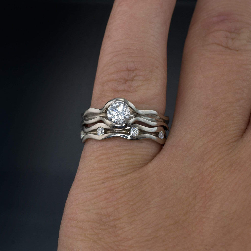 Wave White Sapphire Engagement Ring and Moissanite Eternity Band