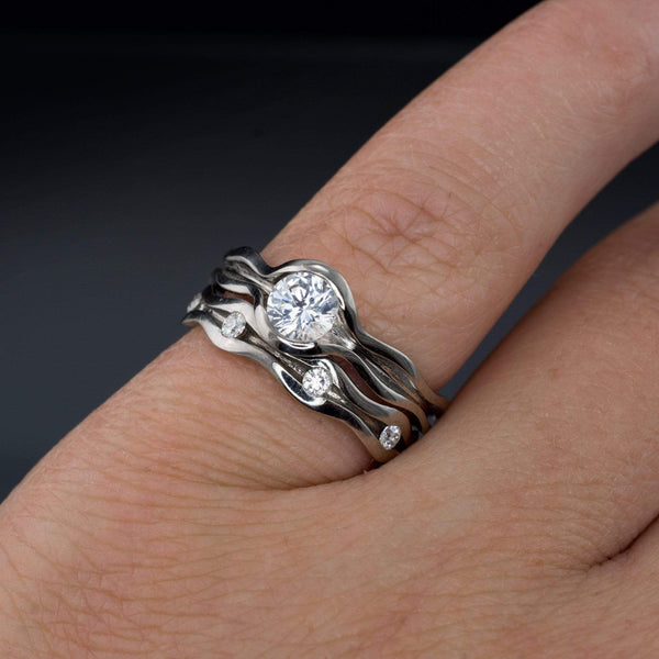 Wave White Sapphire Engagement Ring and Moissanite Eternity Wedding Band Set