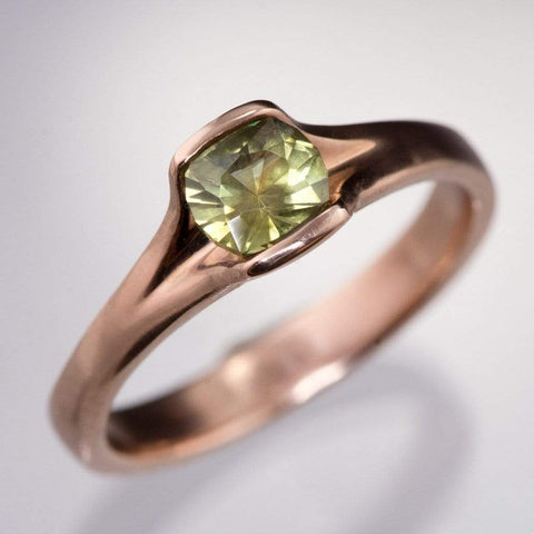 Yellow-Green Cushion Montana Sapphire Fold Engagement Ring