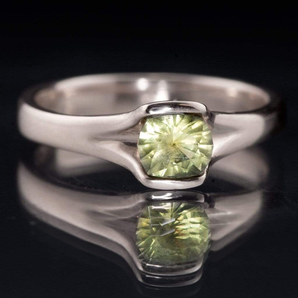 Yellow-Green Cushion Montana Sapphire Fold Engagement Ring - by Nodeform